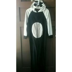 Panda Hooded Footie Pjs  Zip up S